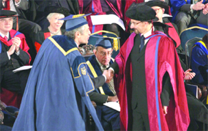 Dr Mark Abell receiving doctorate