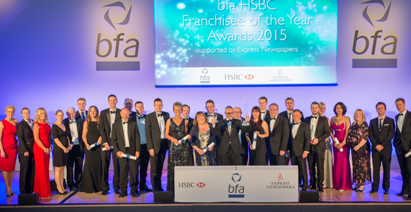 Franchisee of the Year 2015 winners, judges and presenters.