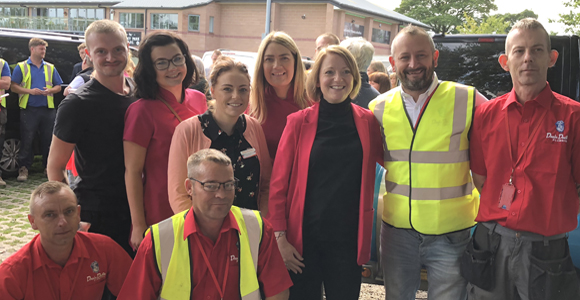 Helen Ross (centre) with members of her team of domestic housekeepers, together with Jim Watson (second right) and his technicians.