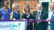 At the opening of Surecare Hertfordshire, from left: carer Soutonye Isaacs, Helen Roberts, Karen Carroll, Alan Plancey and Kevin Isaac.